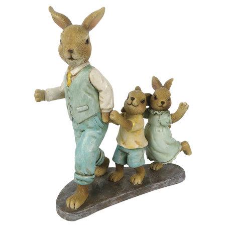 Decoratie konijnen 13*6*15 cm Multi | 6PR3264 | Clayre & Eef