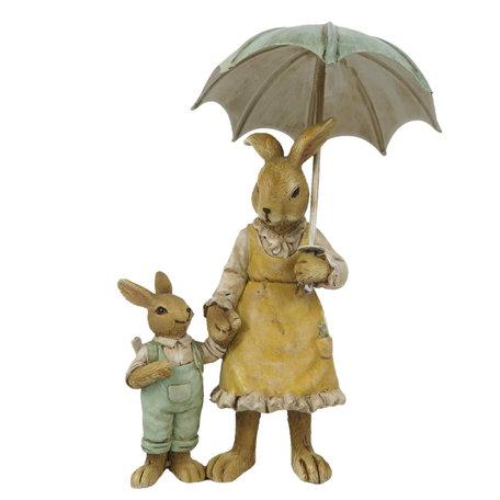 Decoratie konijnen 9*4*13 cm Multi | 6PR3266 | Clayre & Eef