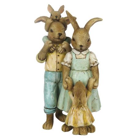 Decoratie konijnen 8*6*15 cm Multi   6PR3274   Clayre & Eef