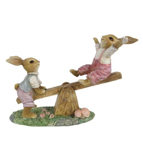 Decoratie konijnen 18*8*13 cm Multi   6PR3279   Clayre & Eef
