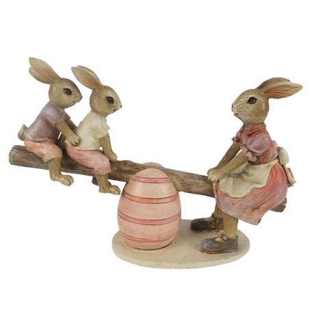 Decoratie konijnen 20*7*13 cm Roze | 6PR3284 | Clayre & Eef