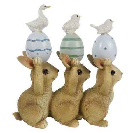 Decoratie konijnen 12*4*12 cm Multi | 6PR3286 | Clayre & Eef