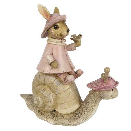 Decoratie konijn zittend op slak 15*6*15 cm Multi | 6PR3330 | Clayre & Eef