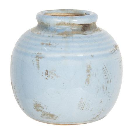 Decoratie vaasje ø 8*8 cm Blauw | 6CE1215 | Clayre & Eef