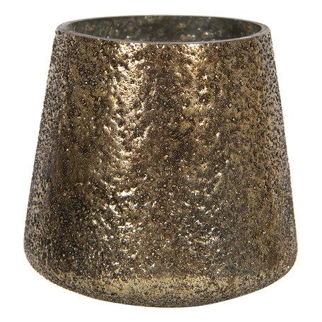 Waxinelichthouder ø 10*10 cm Goudkleurig | 6GL2859 | Clayre & Eef