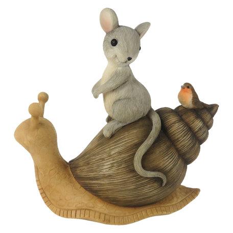 Decoratie zittend muis op slak 13*6*13 cm Multi | 6PR3245 | Clayre & Eef