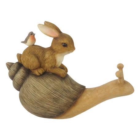 Decoratie liggend konijn op slak 15*6*11 cm Multi | 6PR3246 | Clayre & Eef
