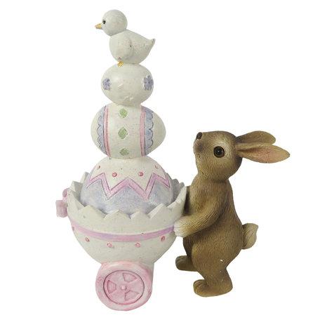 Decoratie konijn met kar 12*6*14 cm Multi | 6PR3252 | Clayre & Eef