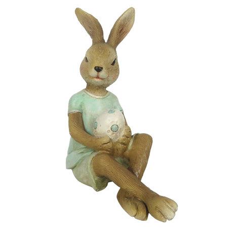 Decoratie konijn 10*6*12 cm Groen | 6PR3258 | Clayre & Eef