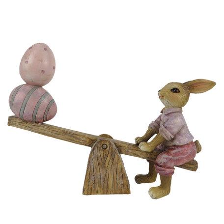 Decoratie konijn 16*3*12 cm Roze | 6PR3283 | Clayre & Eef