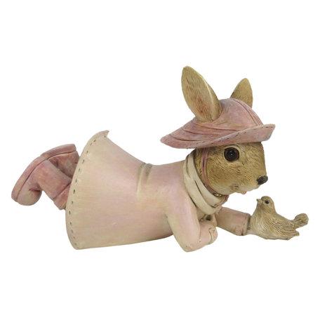 Decoratie konijn 14*6*8 cm Roze | 6PR3290 | Clayre & Eef