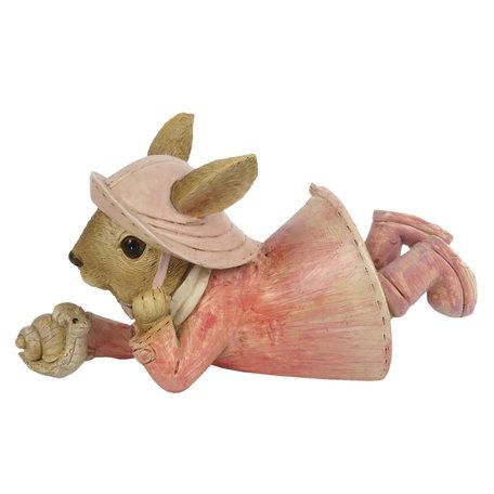 Decoratie konijn 14*6*8 cm Roze | 6PR3291 | Clayre & Eef