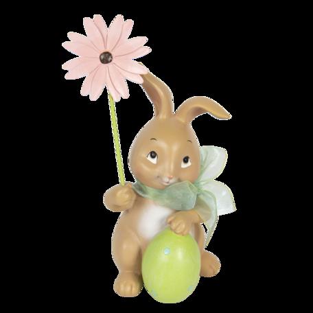 Decoratie konijn met bloem 9*9*17 cm Multi | 6PR3132 | Clayre & Eef