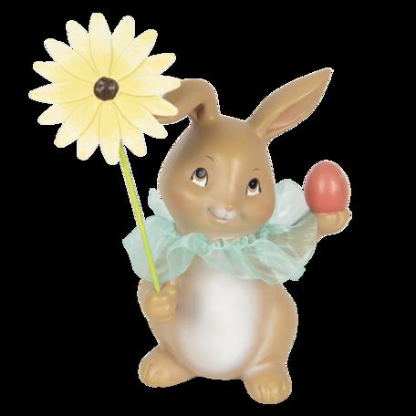 Decoratie konijn met bloem 11*9*15 cm Multi | 6PR3133 | Clayre & Eef