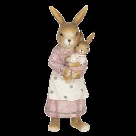 Decoratie konijnen 7*7*19 cm Roze | 6PR3319 | Clayre & Eef