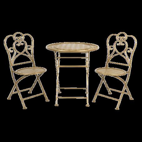 Tafel + 2 stoelen ø 70*75 cm Goudkleurig | 5Y0222GO | Clayre & Eef