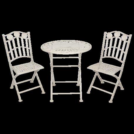 Bistroset tafel + 2 stoelen ø 69*76 cm / 39*47*92 cm Creme | 5Y0763 | Clayre & Eef