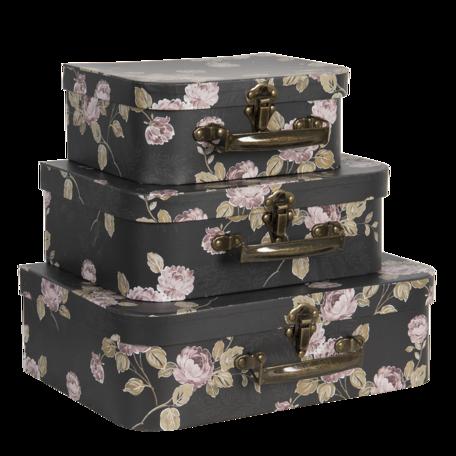 Decoratie koffer (set van 3) 30*21*9/25*18*9/20*16*8 cm Zwart | 64754 | Clayre & Eef