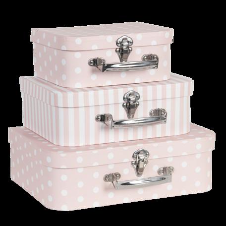 Decoratie koffer (set van 3) 30*21*9/25*18*9/20*16*8 cm Roze | 64759 | Clayre & Eef