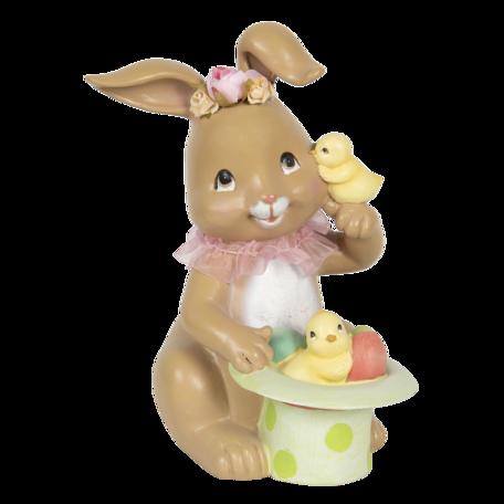 Decoratie konijn met toverhoed 18*16*23 cm Multi | 6PR3129 | Clayre & Eef