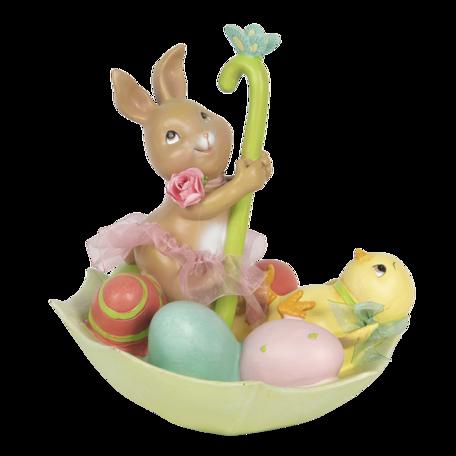 Decoratie konijn met paraplu 15*15*17 cm Multi | 6PR3131 | Clayre & Eef