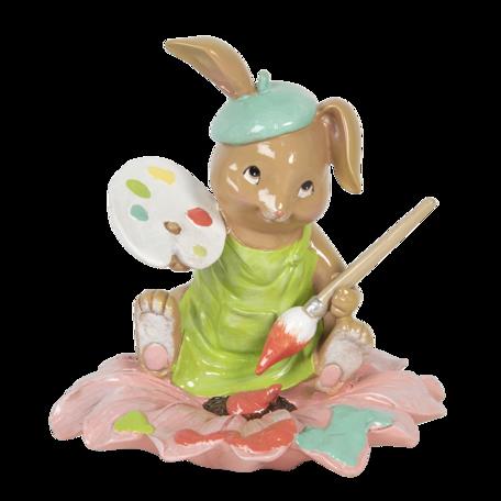 Decoratie konijn zittend op een bloem 15*15*15 cm Multi | 6PR3134 | Clayre & Eef