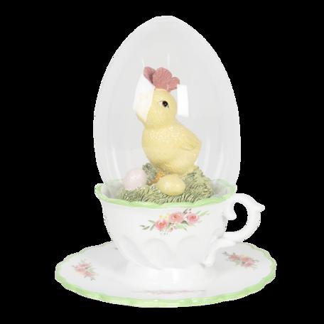 Decoratie kip op een kopje 12*15 cm Multi | 6PR3138 | Clayre & Eef