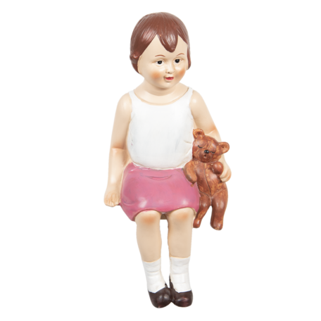 Decoratie meisje zittend 15*13*32 cm Multi | 6PR3217 | Clayre & Eef