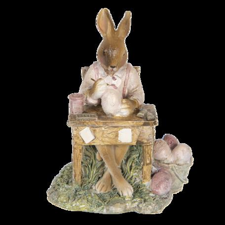 Decoratie konijn 11*9*14 cm Roze | 6PR3310 | Clayre & Eef