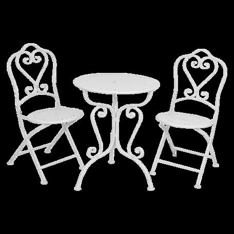 Bistroset tafel + 2 stoelen ø 62*73 / 48*40*93 cm (2) Wit | 5Y0129W | Clayre & Eef