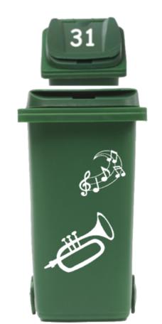 Sticker set trompet + muzieknoten + Deksel nummer | Rosami Decoratiestickers