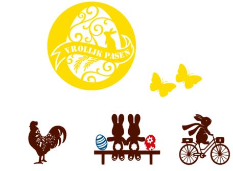 Raamsticker set herbruikbaar vrolijk pasen met kip, vlinders, konijnen op bankje / fiets eieren | Rosami Decoratiestickers