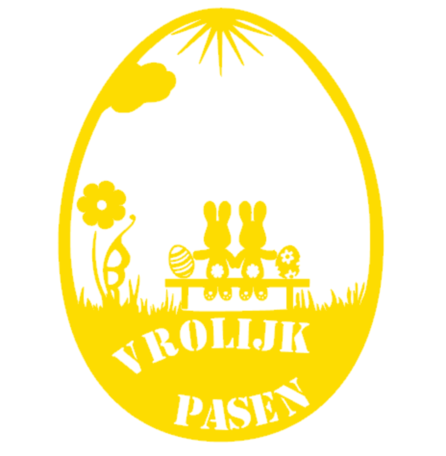 Herbruikbare raamsticker paasei vrolijk pasen, konijn op bankje | Rosami Decoratiestickers