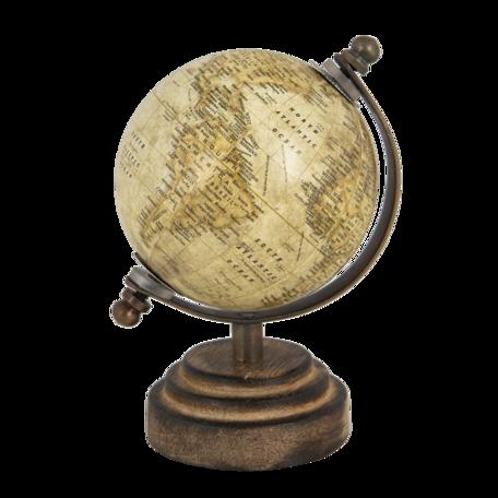 Wereldbol/globe 8*8*13 cm Beige | 64659 | Clayre & Eef
