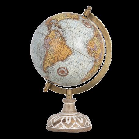Wereldbol/globe 15*15*28 cm Blauw | 64660 | Clayre & Eef