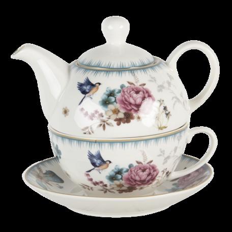 Tea for one set ø16*15*15 cm / 460 ml Multi | PIRTEFO | Clayre & Eef