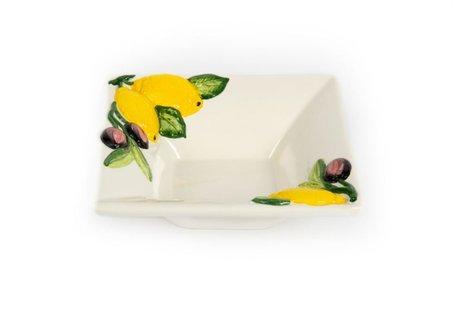 Vierkant schaaltje citroen en olijf 16 x 16 cm | FR777 | Piccobella