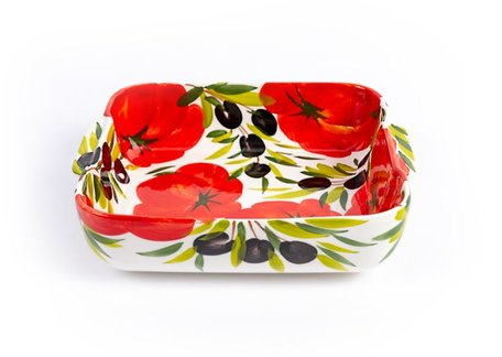 Vierkante ovenschaal tomaat en olijven 24 x 24 cm | P086 | Piccobella