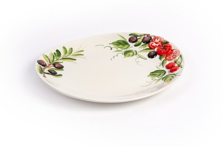Ovaal bord met olijven en tomaten 30 x 26 cm | PO10 | Piccobella