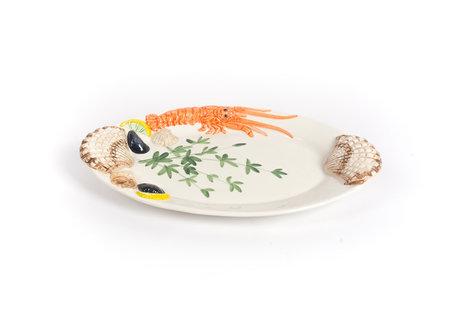 Ovale visschaal met kreeft schelpen en mosselen groot 44 x 27 cm | V008 | Piccobella