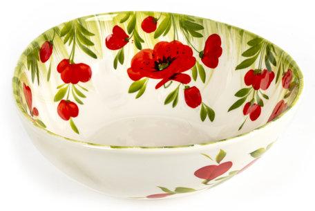 Schaal salade groot met klaprozen en groen gras 24 x 10 cm | EWBL21 | Piccobella