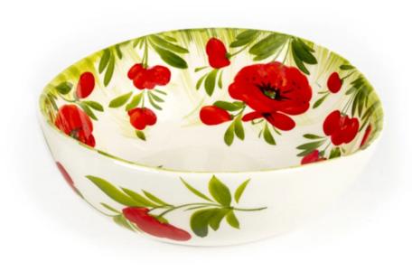 Schaal salade medium met klaprozen en groen gras 20 x 7 cm | EWBL22| Piccobella