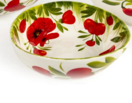 Schaal klein met klaprozen en groen gras 14 x 6 cm | EWBL23 | Piccobella