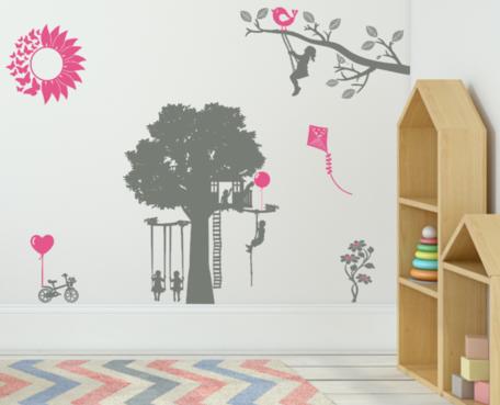 Muurstickerset Speeltuin | Kinderen op schommel - ballon - fiets - bloem - vlieger | Kinderkamer | Rosami Decoratiestickers