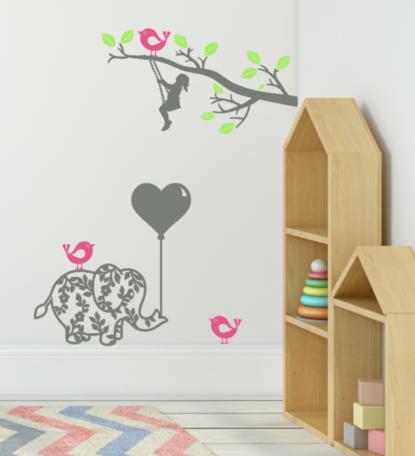 Muurstickerset | Meisje op schommel - Olifant met ballon - vogels | Kinderkamer | Rosami Decoratiestickers