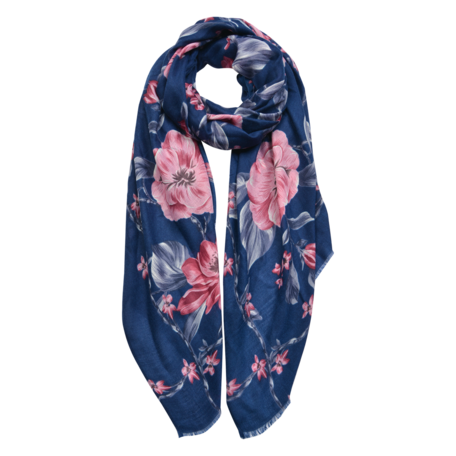 Sjaal 90*180 cm Blauw | JZSC0473BL | Clayre & Eef