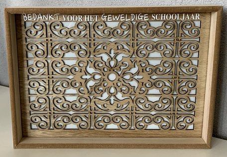 Dienblad hout bruin met glasplaat - Bedankt schooljaar   Juf & Meester