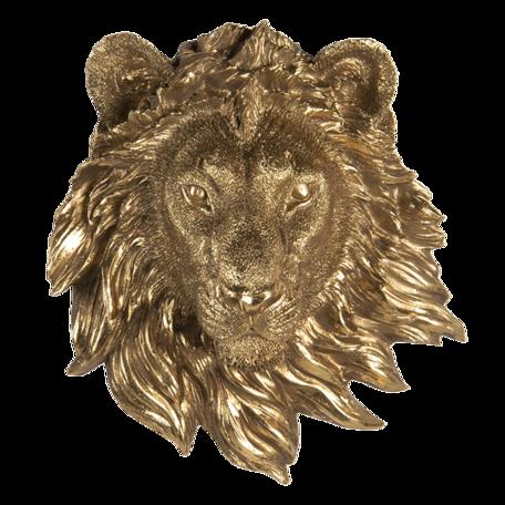 Wanddecoratie leeuw 18*8*21 cm Goudkleurig | 6PR3426 | Clayre & Eef