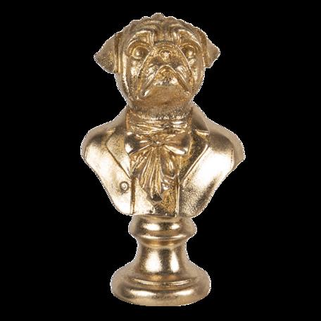 Decoratie hond 9*8*15 cm Goudkleurig | 6PR3446 | Clayre & Eef