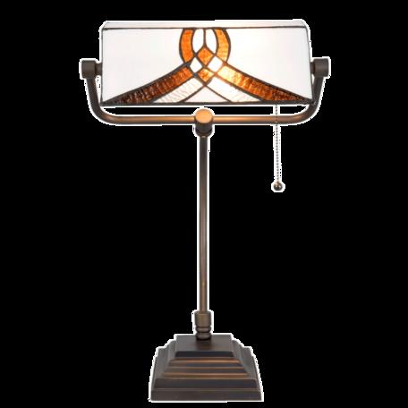 Bureaulamp Tiffany 31*30*52 cm E27/max 1*60W Wit | 5LL-5195 | Clayre & Eef